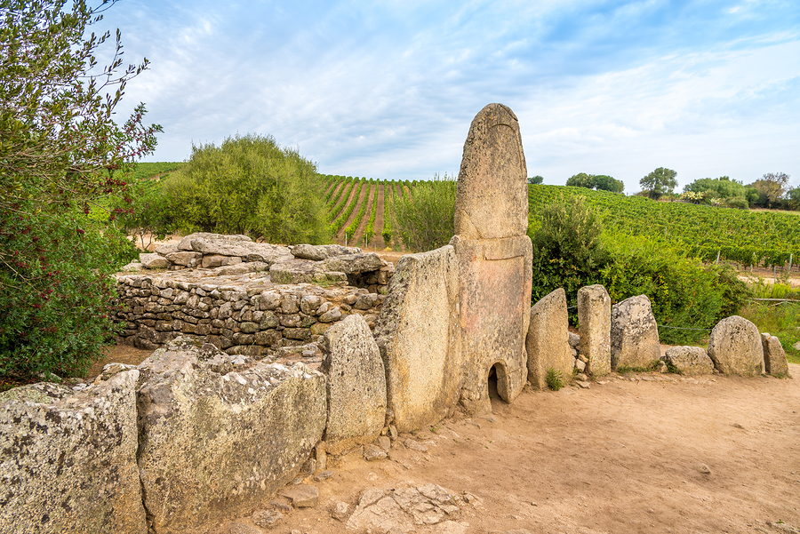 Ruins Tomb Coddu Vecchiu near Prisgiona nuraghe - Italy